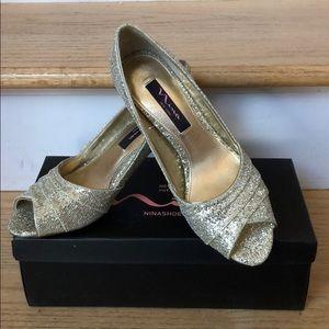 EUC Nina Gold Metallic Open Toe Heels